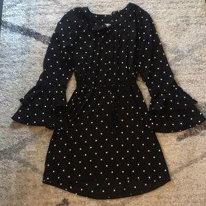 Black & White Polka Dot Dress with Flutter Sleeves